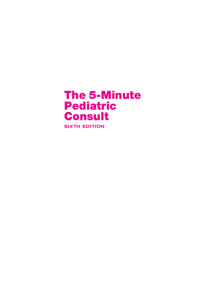 PDF) The 5-Minute Pediatric Consult | Shafinewaz RPh