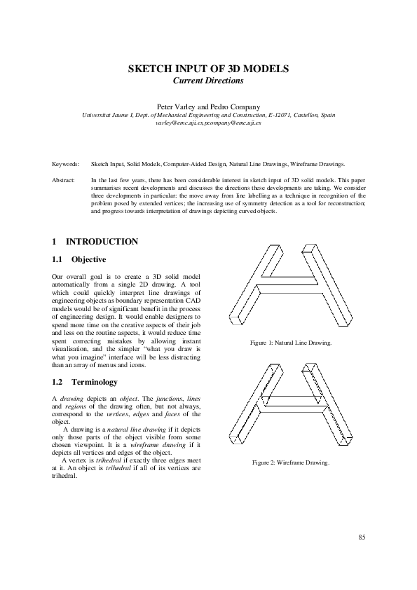 Pdf Sketch Input Of 3d Models Current Directions Pedro Company And Peter Varley Academia Edu