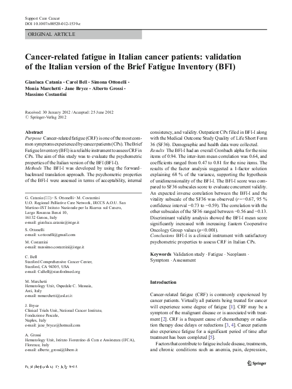 PDF) Cancer-related fatigue in Italian cancer patients