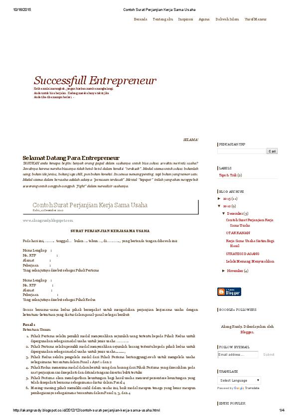 Pdf Contoh Surat Perjanjian Kerja Sama Usaha Fakhrul