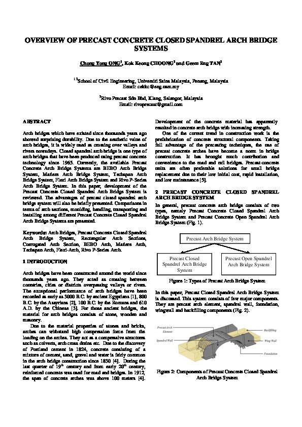 PDF) Overview of Precast Concrete Closed Spandrel Arch