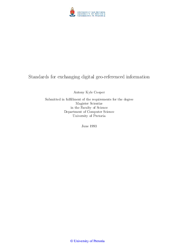 Standards For Exchanging Digital Geo Referenced Information