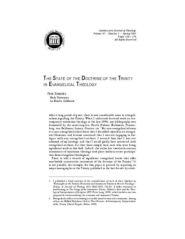 PDF) The State of the Doctrine of the Trinity in Evangelical