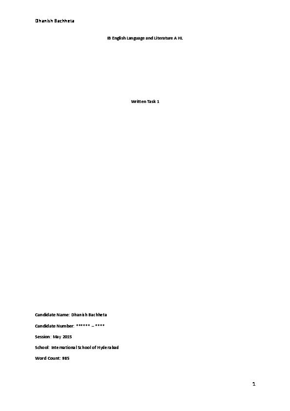 PDF) IB English HL Written Task 1: Online Article   Dhanish