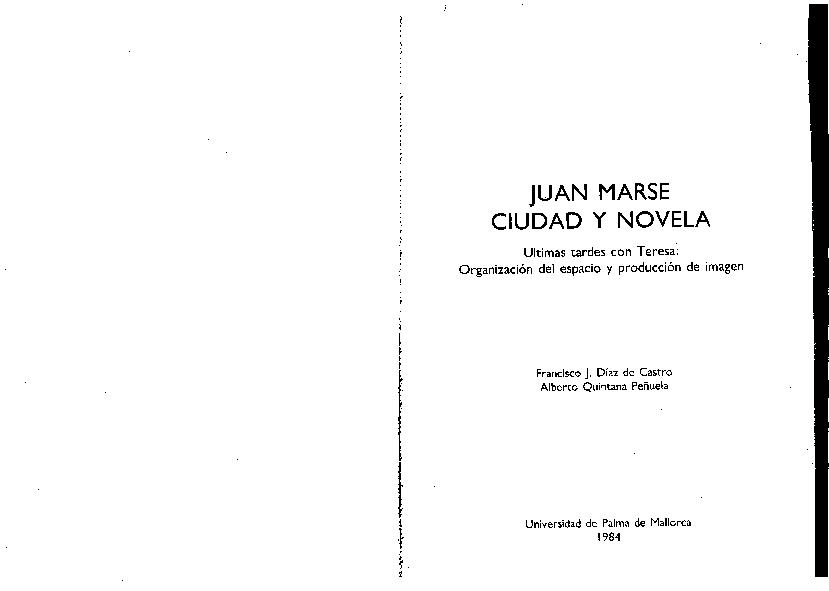 Pdf Juan Marsé Ciudad Y Novela últimas Tardes Con Teresa