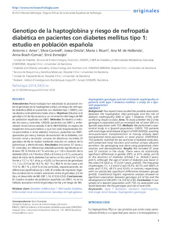 asociación de diabetes con genotipo de haptoglobina