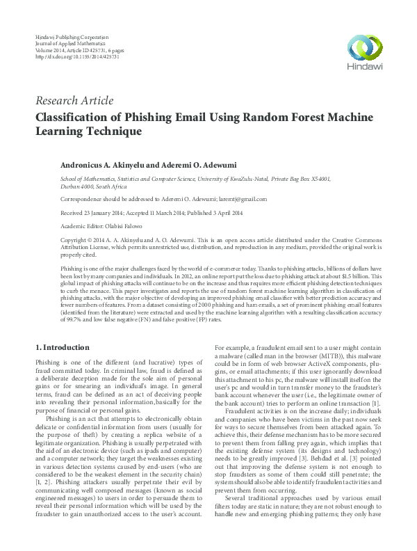PDF) Classification of Phishing Email Using Random Forest