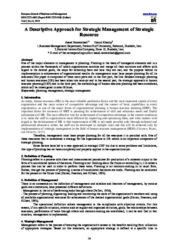 PDF) A Descriptive Approach for Strategic Management of