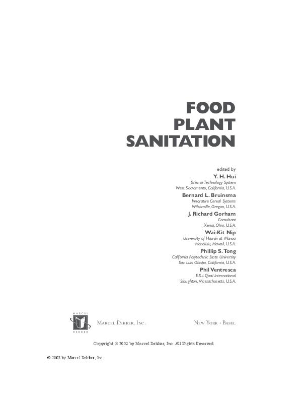 PDF) Food Plant Sanitation Hui | Paulo Pulla - Academia edu