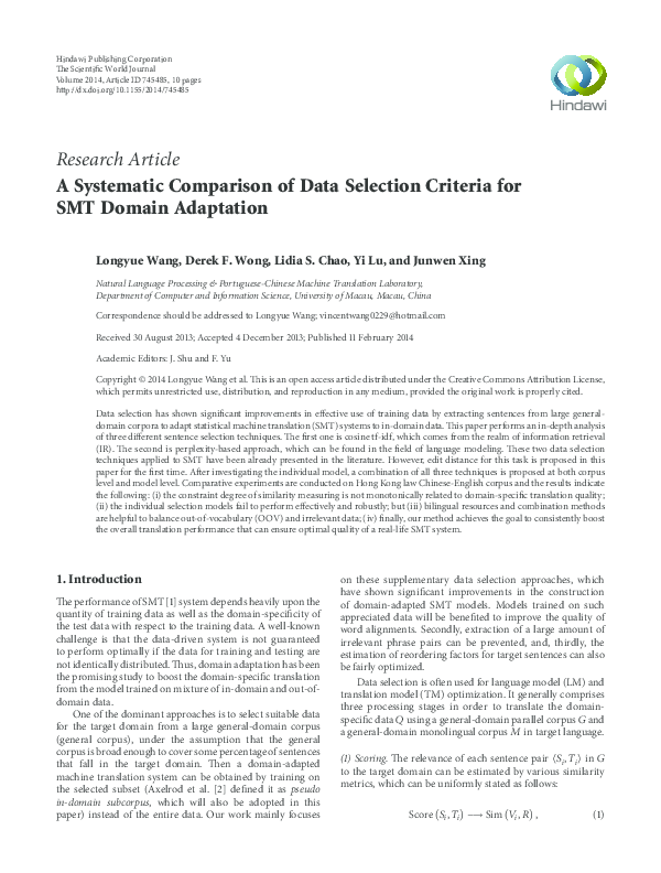 PDF) A Systematic Comparison of Data Selection Criteria for