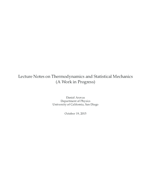PDF) Lecture Notes in Equilibrium Statistical Physics | Daniel