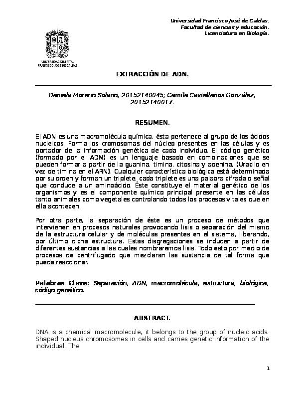 Doc Informe Extraccion De Adn Camila Castellanos