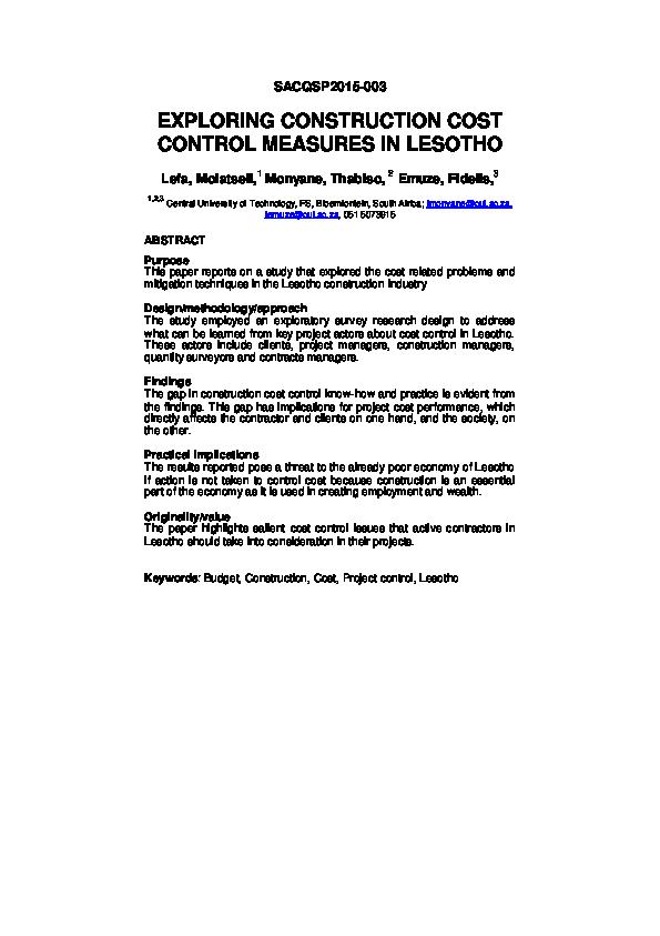 PDF) EXPLORING CONSTRUCTION COST CONTROL MEASURES IN LESOTHO