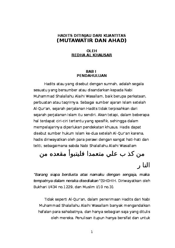 Hadits Mutawatir Dan Ahad Redha Alkhausar Academia Edu