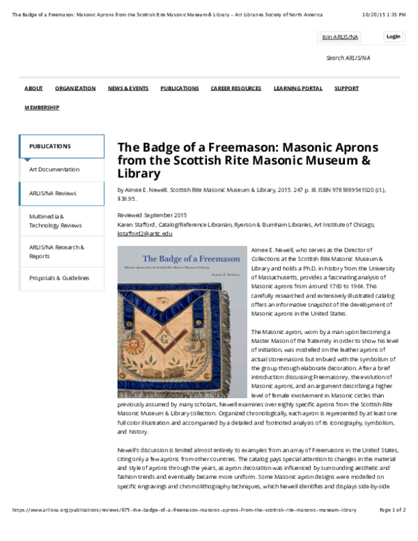 PDF) Review of The Badge of a Freemason: Masonic Aprons from the