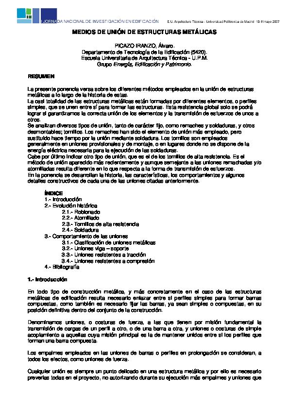 Tipos de uniones en estructuras metalicas