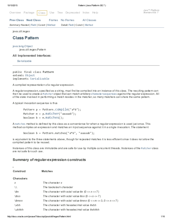 PDF) Pattern Java Platform SE 7 | alexander valle - Academia edu