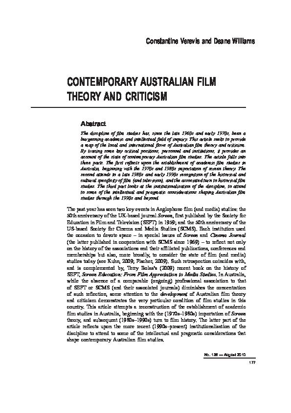 Pdf Contemporary Australian Film Theory And Criticism Constantine E Verevis And Deane Williams Academia Edu