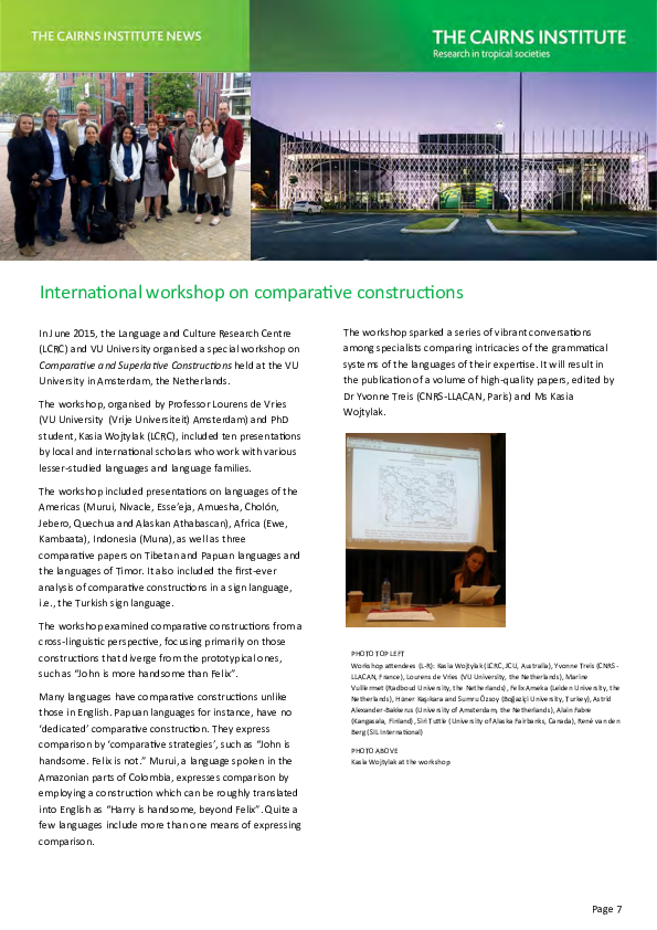 International workshop on comparative constructions at the VU