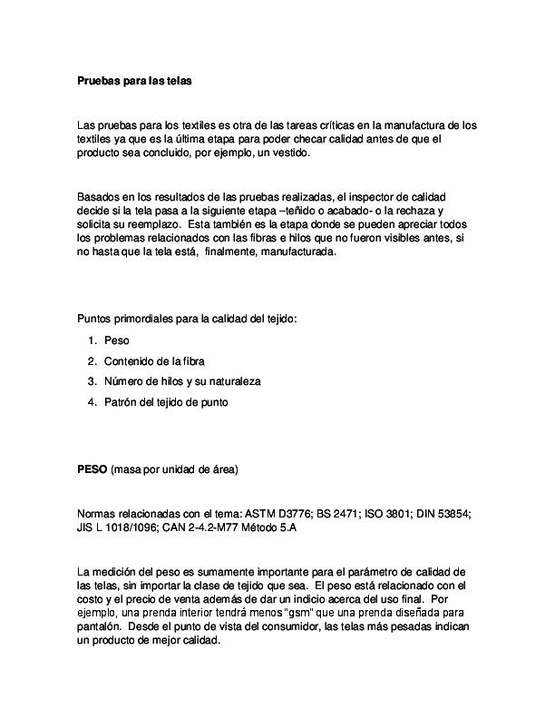 PRUEBAS DE LABORATORIO PARA TELAS   Alejandro Valencia Marin ...