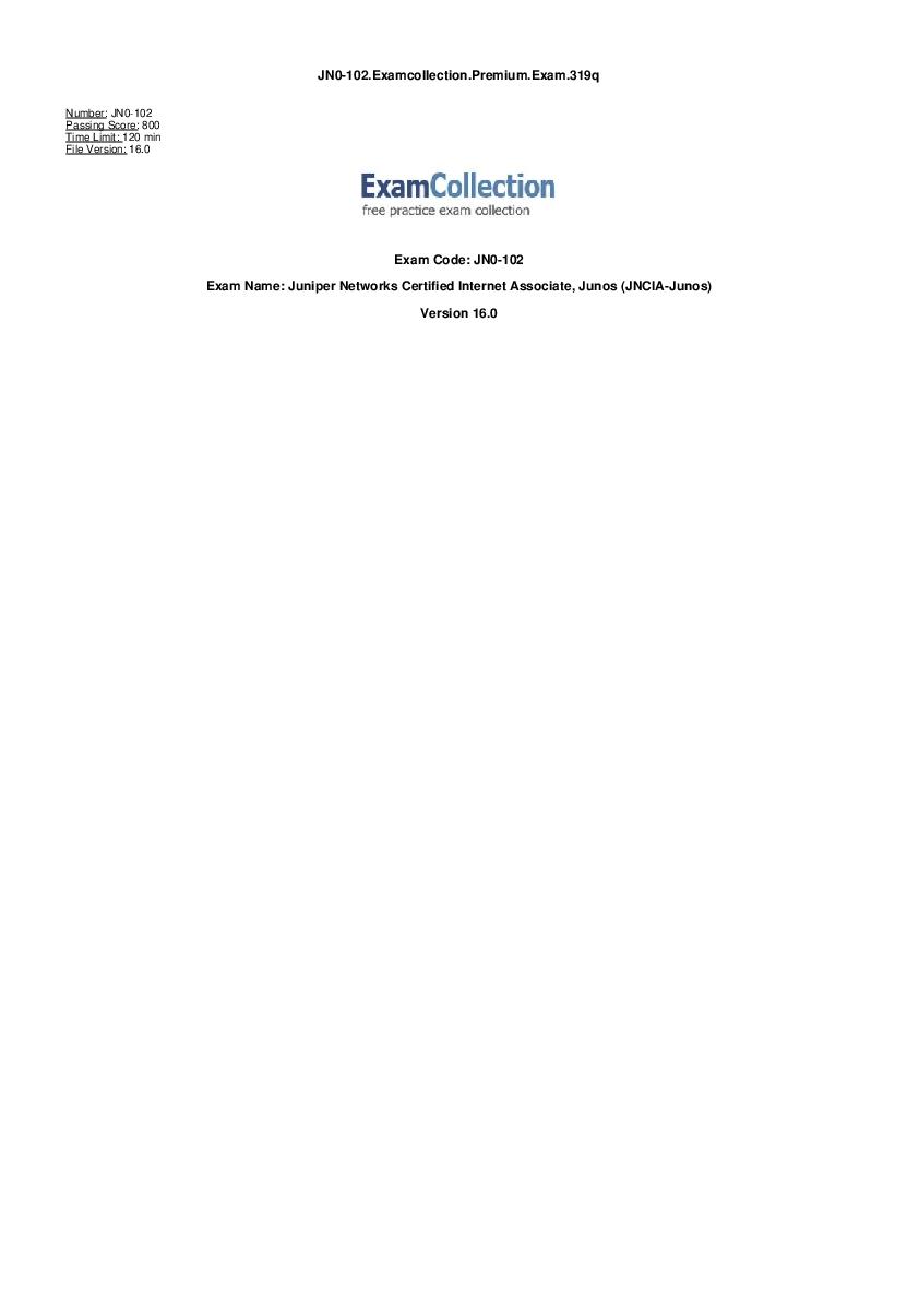 PDF) JN0 102 Examcollection Premium Exam 319q Version 16 0