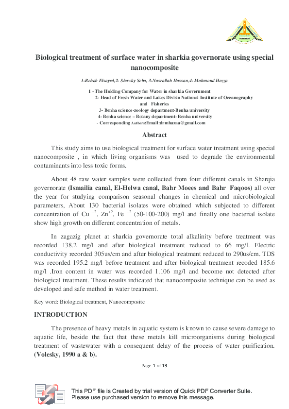 PDF) Biological treatment of surface water in sharkia