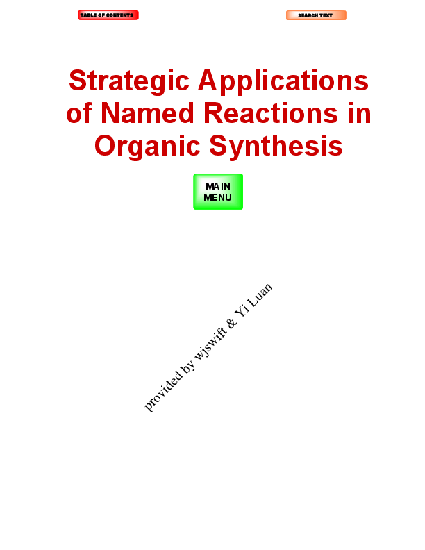 PDF) Strategic Applications of Organic Named Reactions in