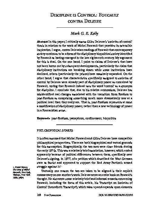 PDF) Discipline is Control: Foucault contra Deleuze | Mark