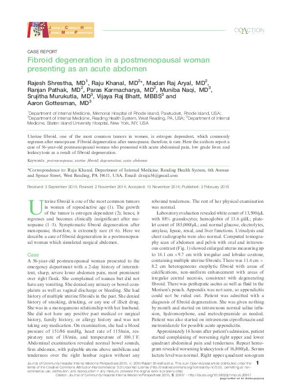 PDF) Fibroid degeneration in a postmenopausal woman
