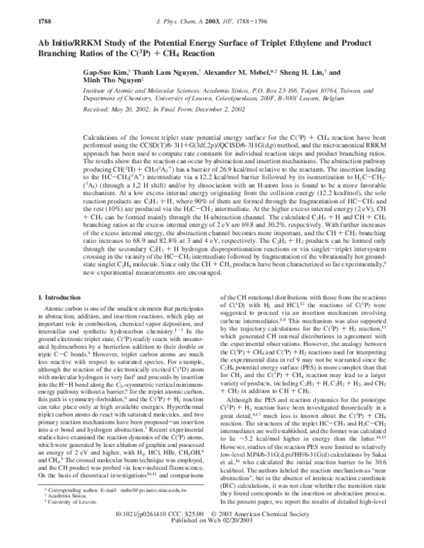 PDF) Ab Initio/RRKM Study of the Potential Energy Surface of