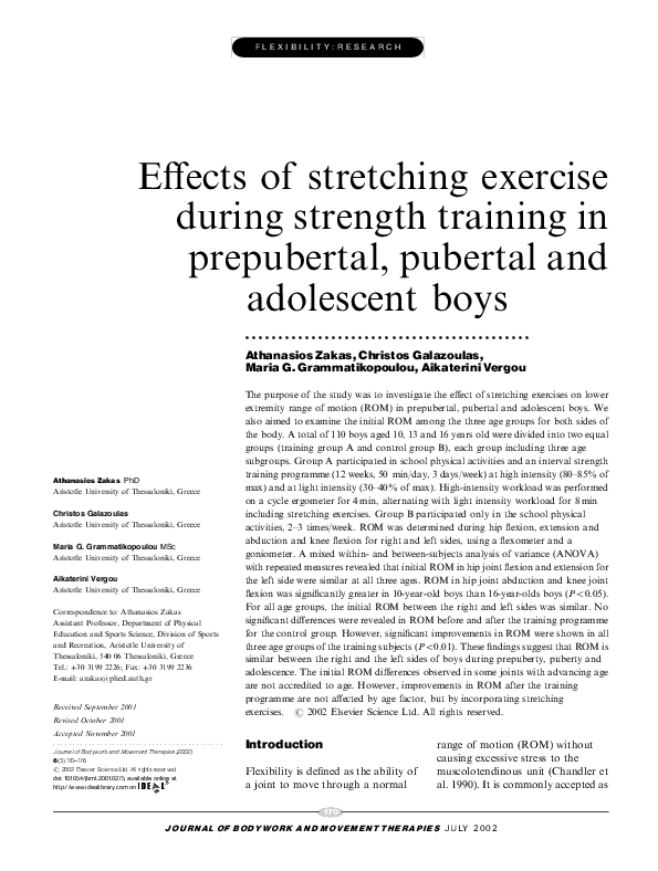 PDF) Effects of stretching exercise during strength training