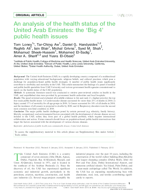 PDF) An analysis of the health status of the United Arab Emirates