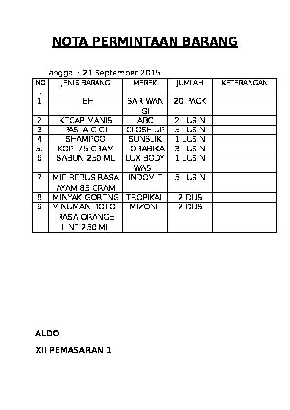 Doc Nota Permintaan Barang Aldo Aldo Naqzm Academiaedu