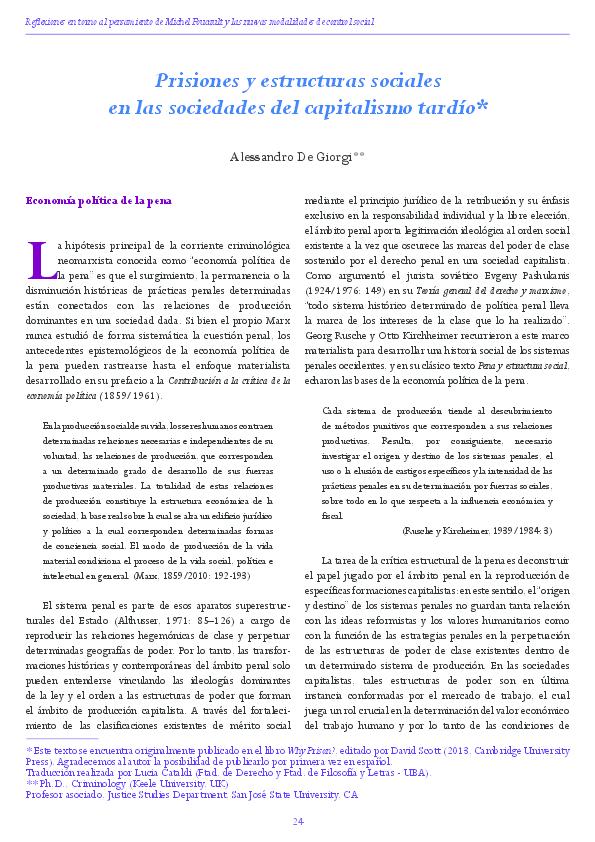 Pdf Prisiones Y Estructuras Sociales En Las Sociedades Del