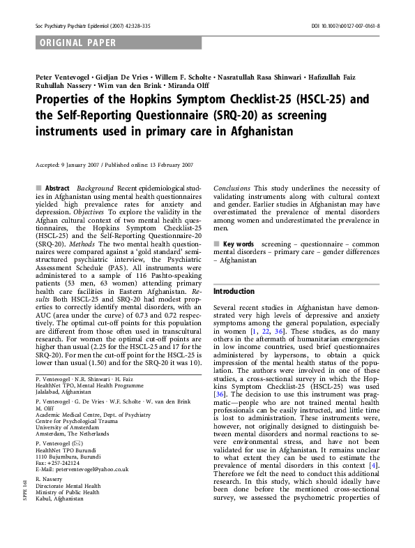 Pdf Properties Of The Hopkins Symptom Checklist 25 Hscl 25 And The Self Reporting Questionnaire Srq 20 As Screening Instruments Used In Primary Care In Afghanistan Willem Scholte Academia Edu