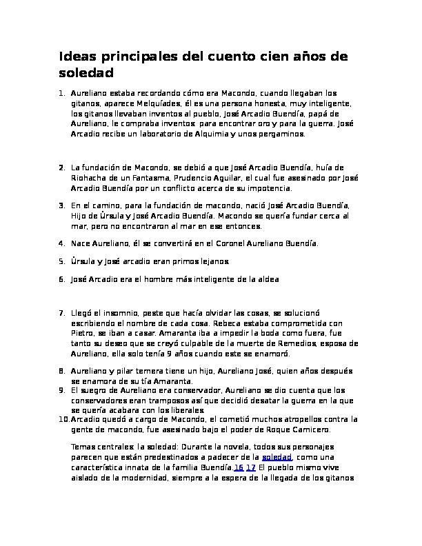 Doc Ideas Principales Del Cuento Cien Anos De Soledad Yesid 999 Academia Edu