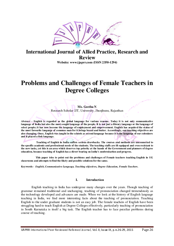 PDF) Problems and Challenges of Female Teachers in Degree