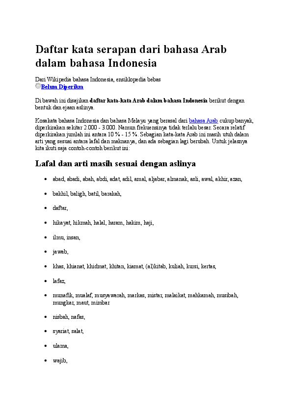 Doc Daftar Kata Serapan Dari Bahasa Arab Dalam Bahasa Indonesia Doddy Azhar Academia Edu