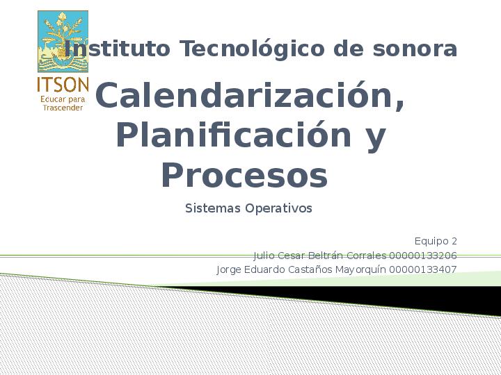 PPT) Calendarizacion Planificacion y Procesos | Julio