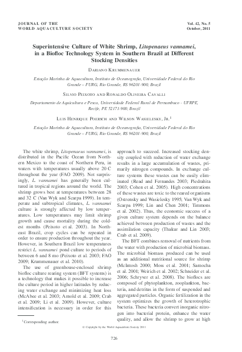 PDF) Superintensive Culture of White Shrimp, Litopenaeus