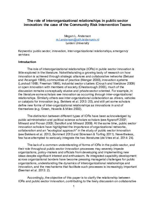 PDF) The role of interorganizational relationships in public