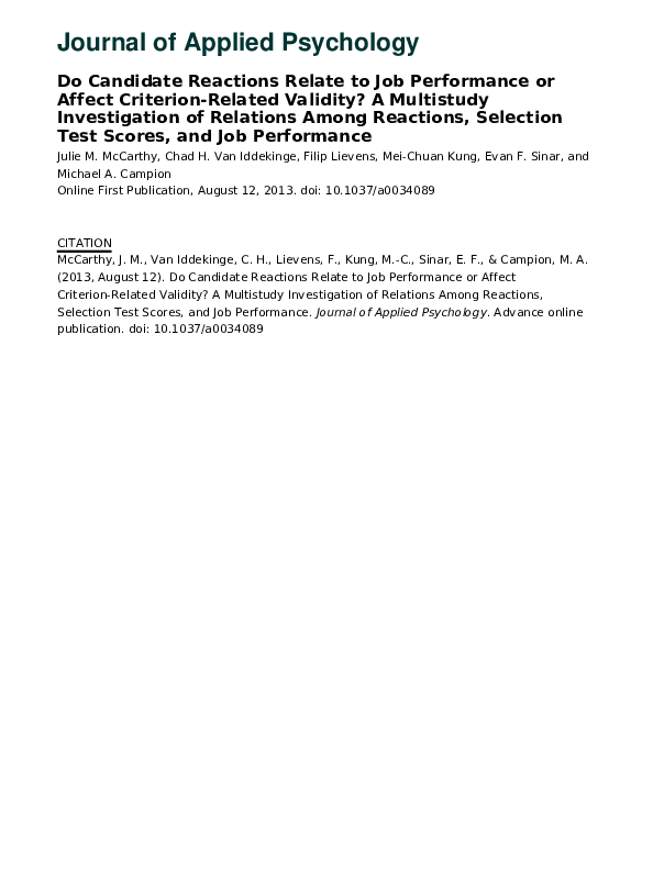 PDF) Do candidate reactions relate to job performance or affect