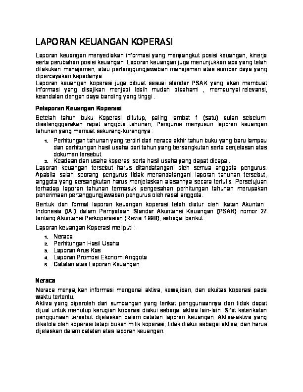 Doc Laporan Keuangan Koperasi Dan Hurint Academia Edu