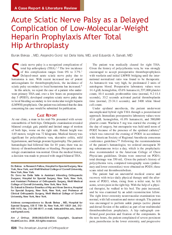 PDF) Acute sciatic nerve palsy as a delayed complication of