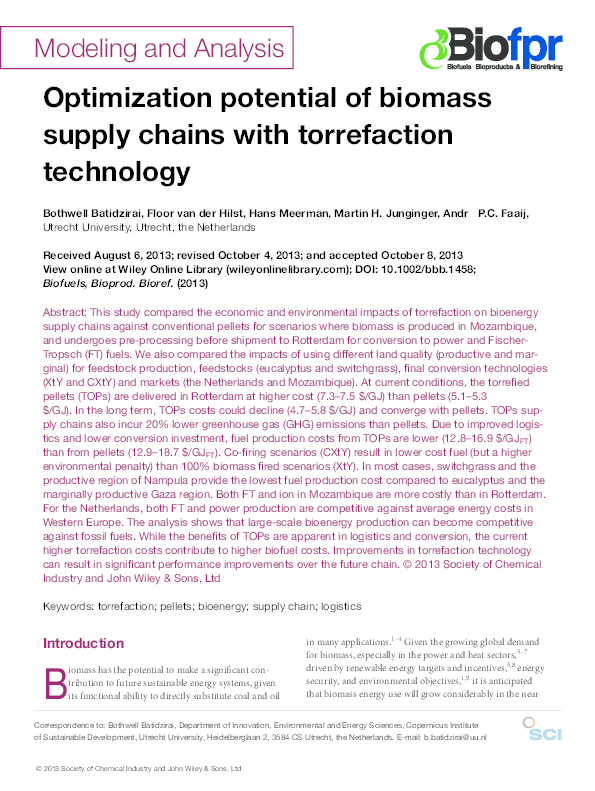 PDF) Optimization potential of biomass supply chains with