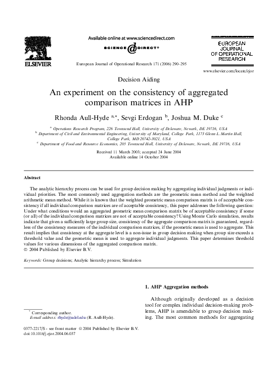 PDF) An experiment on the consistency of aggregated