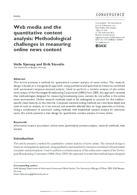 Pdf Web Media And The Quantitative Content Analysis Methodological Challenges In Measuring Online News Content Eirik Stavelin Academia Edu