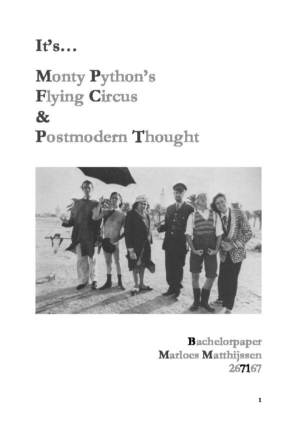 Pdf It S Monty Python And Postmodern Thought Marloes Matthijssen Academia Edu