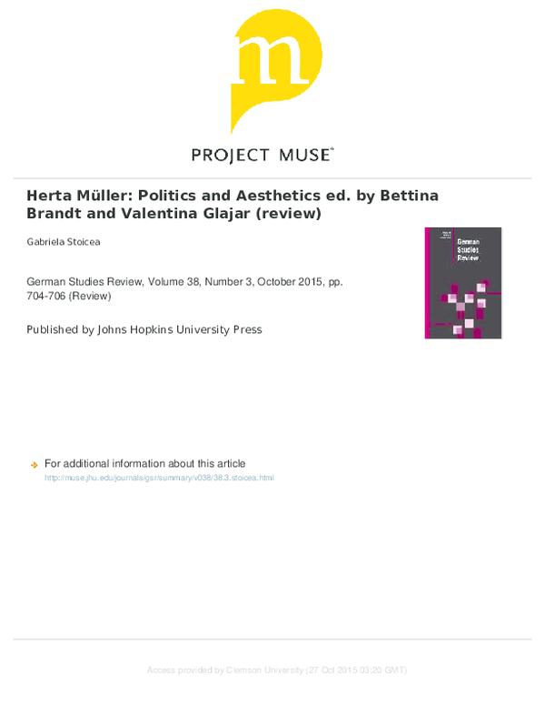 Herta Müller : politics and aesthetics