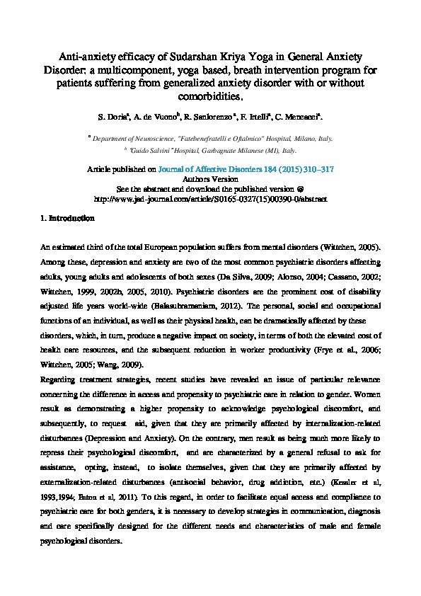 Pdf Sudarshan Kriya Yoga As An Integretad Therapy For General Anxiety And Depression Roberto Sanlorenzo Academia Edu